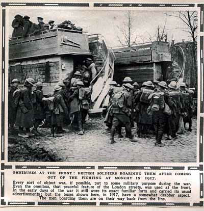 Omnibuses at the front: British Soldiers boarding them after coming out of the fighting at Monchy in 1917