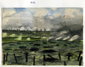 [A Watercolour of no mans land, painted by my grandfather in 1916]